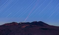 Star Trails at 420mm! (geekyrocketguy) Tags: night stars telephoto laser maunakea startrails maunaloa 420mm adaptiveoptics
