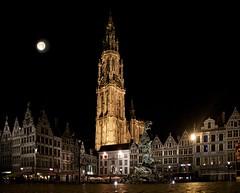 Full moon above Antwerp (Jochem.Herremans) Tags: cathedral belgium fullmoon antwerp brabo grotemarkt ourlady