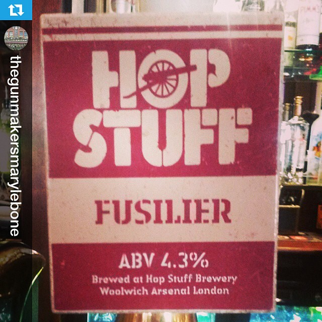 #Repost from @thegunmakersmarylebone with @repostapp  ---  @Hopstuffbrewery Fusilier back on!  Come and have a pint, also showing Maribor v Chelsea and Man City vs CSKA Moscow tonight at 19.45!  @PerfectPintUK #perfectpint #HopStuffBrewery #realale #UEFA