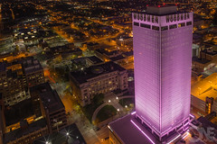 Pink Woodman Tower (onelapse) Tags: from above pink tower skyline architecture buildings nebraska downtown cityscape breast cancer omaha awareness epic donate woodman