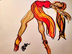 Zumba (Damana) Tags: red orange woman black girl yellow back dance beige dancing lean zumba