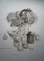 hortencia (furlane robin) Tags: fleur drawing aquarelle dessin bouquet naturemorte fusain hortancia