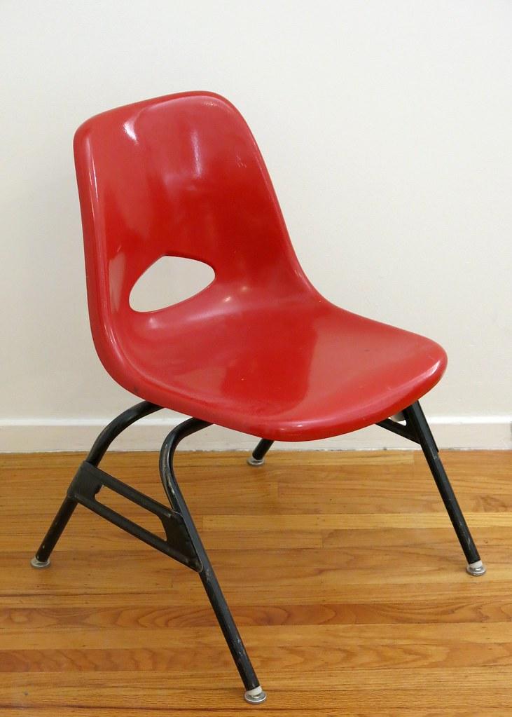 Vintage Krueger Fiberglass Classroom Chair (hmdavid) Tags: School Red  Vintage Children Chair Classroom
