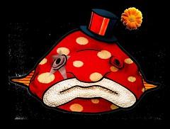 Blobfish-Clownfish (Bewilderlings Illustration) Tags: ocean carnival blue boy red sea woman white fish man silly flower cute girl strange beautiful hat yellow swim happy weird sad circus clown ugliest freak ugly blob unusual frown dots blobfish
