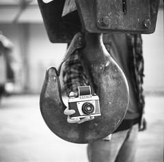 Mike's secret weapon (Salt.as) Tags: camera white 3 black 120 6x6 film monochrome rollei analog square lens industrial bokeh crane greece area medium format 100 28 kiev vega 6c ilford exa patras 1b ilfosol 12b rpx