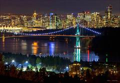 City Lights (Clayton Perry Photoworks) Tags: bridge autumn fall skyline night vancouver reflections lights northshore lionsgatebridge northvancouver explorebc explorecanada