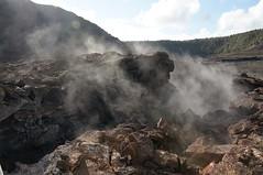 as if all this lava wasn't dramatic enough (rovingmagpie) Tags: hawaii lava steam caldera bigisland hawaiivolcanoesnationalpark steamvent kilaueaiki ikicrater turtleslava2014 ikicratertrail