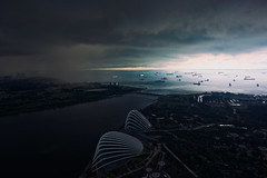 Rolling In (OzGFK) Tags: ocean storm rain weather clouds port boats nikon singapore asia harbour ships nikkor mbs gardensbythebay marinabaysands marinabaysg