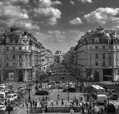 Avenue de l'Opra, Paris (Sorin Popovich) Tags: avedelopra palaisgarnier haussmann grandsboulevards paris france architecture boulevard street incidentalpeople buildings buildingexterior blackandwhite mono monochrome europe frenchculture