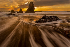 Rushing water at sunset (R Lund photography) Tags: rodeobeach beach sunset marin california colorful clouds cloudy sfbayarea sanfranciscobayarea goldenhour seascape