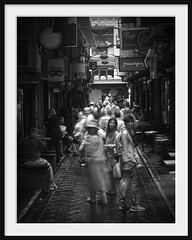 attention seeker (Andrew C Wallace) Tags: attentionseeker centreplace melbourne victoria australia cbd city infrared ir olympus olympusomdem5 blur longexposure faces curious blackandwhite bw microfourthirds m43 laneway alley