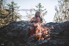 Fire (salas-3) Tags: fire fireplace hill mountain trees stones stone wood burning autumn hilight nikon girl cold finland landscape suomi suomija evening