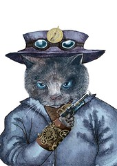 Captain Nemo  (Felis Simha) Tags: felissimha animal animals cat cats kitten kittens kitty pussy feline cateyes whiskers purr meow traveler travel adventure adventurer explore timeandspace timetravel timeagent whimsical adorable cute unique steampunk gear wheel goggles hat clock compass astrolabe fantasy imaginary surreal scifi future portrait animalportrait anthropomorphic anthropomorphism watercolor oilpainting blue purple gold