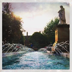 William Etty looks on (Caroline Oades) Tags: droplets exhibitionsquare art artist williametty fountain water fountains waterfeature yorkartgallery yorkshire york