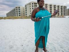(heatherbirdtx) Tags: weddingguest selfiestick beach stranger portrait candid dress composition outdoor dusk clouds overcast condos destin florida cameraphone