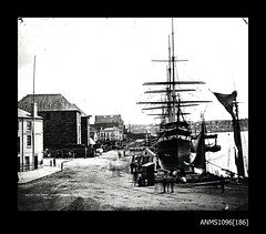 SOBRAON at Queen's Wharf, Circular Quay, February 1871 (Australian National Maritime Museum on The Commons) Tags: hmastingira navy sailors bwphotograph nsssobraon sydneyharbour rosebay berrysbay 1871