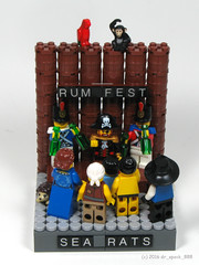 Red vs Blue Drinking Contest (dr_spock_888) Tags: lego moc pirates red blue coats rum contest booze bottles barrels octoberfest
