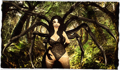 Be my guest (v.messalina) Tags: pile up pileup edited second life secondlife sl arachnid spider cobweb web monster girl gothic horror trap nest passage halloween