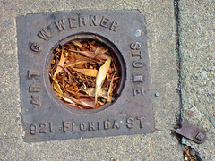 G.W. Werner, San Francisco, CA (Robby Virus) Tags: sanfrancisco california sf ca sewer vent cover metal access sidewalk cement concrete pavement george werner 921 florida contractor