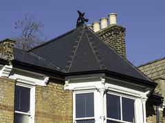 Our dragon Dorcas (Libby Hall Dog Photo) Tags: dragon dragonfinial roofs