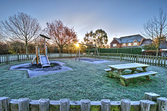 Early morning in the park (Aliy) Tags: chestfield kent autumn autumnal wintery cold frosty sunrise park playpark playarea slide frost winter
