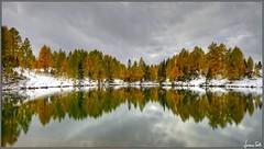 lago di Bordaglia (Luciano Silei - sky7) Tags: bordaglia lago lake carnia friuli lucianosilei canon7d sigma1020 hdr neve snow riflesso mirror reflection clouds