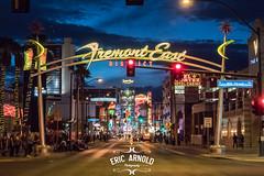 Empty Fremont Street, Las Vegas (Eric Arnold Photography) Tags: vegas lasvegas nv nevada fremont streetdowntown dtlv fremonteast dusk neon light lights sign signs canopy experience parade halloween sin city 2016 elcortez hotel casino