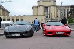 Ferrari 599 GTB Fiorano & Ferrari 360 Spider (Monde-Auto Passion Photos) Tags: auto automobile ferrari 599 gtb fiorano gris 360 spider cabriolet rouge france rally paris evenement supercar sportive