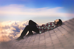 """Up and Away"" (Colin Black Photography) Tags: surreal sky roof selfportrait self portrait photomanipulation conceptual concept"