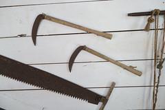 Sarawak farm tools (quinet) Tags: 2015 borneo malaysia sarawak sarawakculturalvillage sense sge werkzeuge faux outils saw scie scythe tools kuching