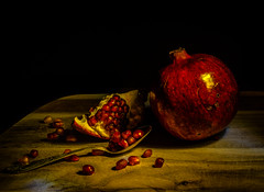 Pomegranate (Vanili11) Tags: pomegranate red fruit peel organic pieces portion open old meal low medium retro ripe vegetarian vintage wooden table sweet rustic section seed still life key backgrounds broken color brown antioxidant agriculture grain brick knife plate silver dark drink healthy juicy apple full festival eating food freshness kitchen matchpointwinner mpt517