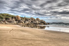 Headland - Squeaky Beach (gecko47) Tags: landscape beach headland rocks boulders granite weathered reflection sea clouds squeakybeach wilsonspromontory gippsland hdr seascape bassstrait footprints