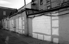 Window Light (geowelch) Tags: toronto downtown urbanfragments urbanlandscape shadows reflections buildings urbandecay blackwhite monochrome 35mmfilm kodakt400cn pentaxesii pentaxtakumarsmc28mm35 plustekopticfilm7400