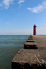 Kenosha Lighthouse (mraarondouglas) Tags: beach beaches sand water waterfront waves boardwalk weed green leav leaves plant rocks angle angles ground level lake michigan great lakes pier lighthouse red kenosha racine wi wisconsin il illinois chicago milwaukee photography photo photograph image canon rebel t5 1200d canon1585