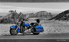 Sept 2010 - The King atop airport hill (lazy_photog) Tags: lazy photog elliott photography worland wyoming hot springs county thermopolis airport road cemetery selective color harley davidson flhp king used police bike billings montana