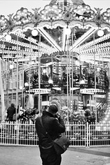 In focus (courtneymartin-luce) Tags: focus person monochrome carrousel cardiff queenstreet wales black white positioning perfect light dark contrast justoutoffocus darker lighter canon film