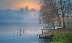 Boats (augustynbatko) Tags: boats lake nature water mist sun trees view sky clouds outdoor