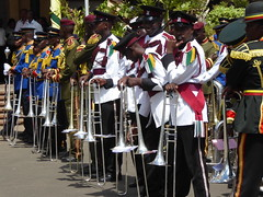 Resting their instruments (prondis_in_kenya) Tags: kenya nairobi shortrains holyfamily basilica church cathedral catholic uniform uniformedservices thanksgiving music instrument