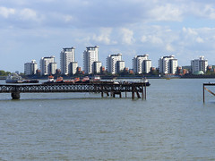 Private Residential Towers (Kombizz) Tags: 1120427 kombizz london 2015 thamesbarrier movablefloodbarrier riverthames floodplain hightides isleofdogs silvertown londonboroughofnewham rogerwalters privateresidentialtowers towboats