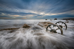 Ancient Tides (Tony Emery Fotos) Tags: seaham wheels sunrise sunset sea waves long exposure clouds motion old