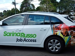 Sarina's Car (mikecogh) Tags: maleny sarinarusso advertising employment jobs personal sedan helmet