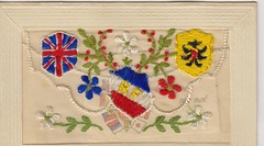 """Anglo-French embroided Carte-Postale early 1900's. The words """"forget me not"""" appear on the card and im sure its connected to WW1. (Bennydorm) Tags: anglofrench tricolour unionjack french francais postcard cartepostale flags 20thcentury 1900s flowers embroidery"""
