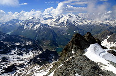 Conversation between the two alpine lakes (mark.paradox) Tags: switzerland valais montfort penninealps mountain view peak lake petitmontfortlake summit travel snow ice water nature landscape hill montblanc matterhorn colors skiregion glacier valleys hike climb                   wow