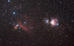 Horsehead Nebula and Orion Nebula (PixInsight trial)