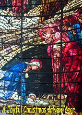 Christmas & New Year wishes to all my flickr friends (ricsrailpics) Tags: uk birmingham cathedral stphilip window stainedglass nativityscene preraphaelite siredwardburnejones christmasgreetings 2016