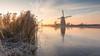 Sunrise in Kinderdijk (Wim Boon (wimzilver)) Tags: wimboon wimzilver leefilter canon winter holland nederland koud cold ice canonef1635mmf4lisusm canoneos5dmarkiii kinderdijk mill windmill