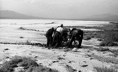 Stuck on Panamint Dry Lake - 1966 (bcgreeneiv) Tags: california blackandwhite bw film vintage desert valley mojave motorcycle panamint
