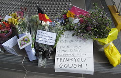 Well may we say.....  THANK YOU GOUGH! (spelio) Tags: house floral death memorial 21 oct parliament farewell canberra tributes legacy dismissal gough 2014 australiancapitalterritory notforgotten whitlam post1972