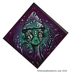 Glistening Encounter (lucidRose) Tags: art mushroom originalart alien goddess faery spraypaint mutant etsy acrylicpainting thirdeye chelsearosearts