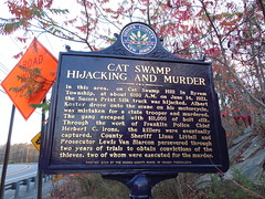 Cat Swamp Hijacking & Murder Marker (jimmywayne) Tags: newjersey historic marker murder cranberrylake hijacking sussexcounty catswamp